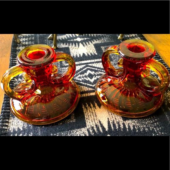 Vintage L.E. Smith Amberina glass candlesticks